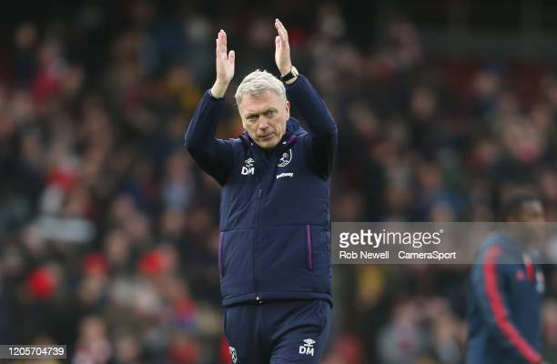 West Ham United manager David Moyes acknowledges the West Ham fans at the end of the game during the Premier League match between Arsenal FC and West...