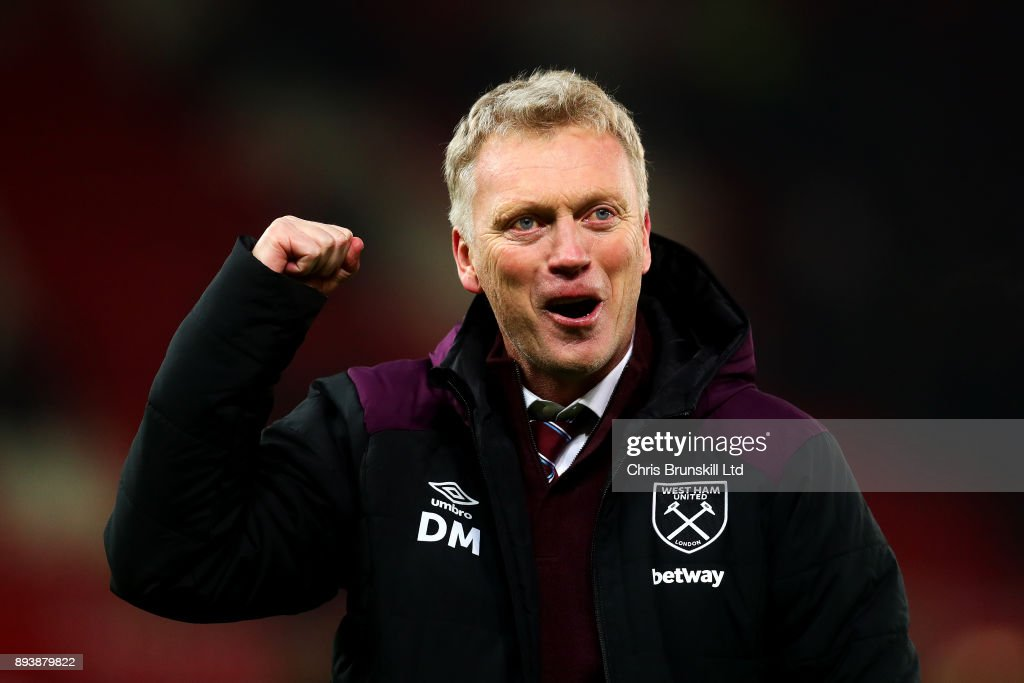 West Ham United manager David Moyes celebrates at full-time following the Premier League match between Stoke City and West Ham United at Bet365 Stadium on December 16, 2017 in Stoke on Trent, England.