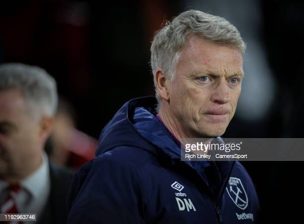 West Ham United manager David Moyes during the Premier League match between Sheffield United and West Ham United at Bramall Lane on January 10, 2020...