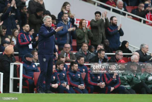 West Ham United manager David Moyes during the Premier League match between Arsenal FC and West Ham United at Emirates Stadium on March 7 2020 in...