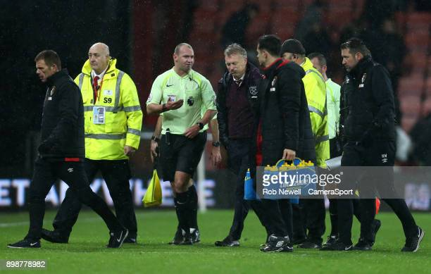 West Ham United manager David Moyes has words with Referee Bobby Madley during the Premier League match between AFC Bournemouth and West Ham United...