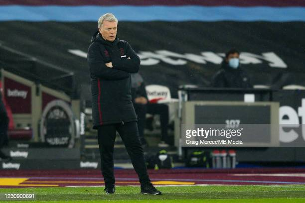 West Ham United manager David Moyes looks on during the Premier League match between West Ham United and Liverpool at London Stadium on January 31,...