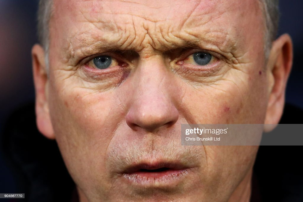 West Ham United manager David Moyes looks on during the Premier League match between Huddersfield Town and West Ham United at John Smith's Stadium on January 13, 2018 in Huddersfield, England.
