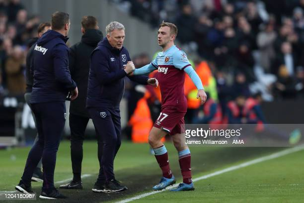 West Ham United manager / head coach David Moyes with Jarrod Bowen during the Premier League match between West Ham United and Southampton FC at...