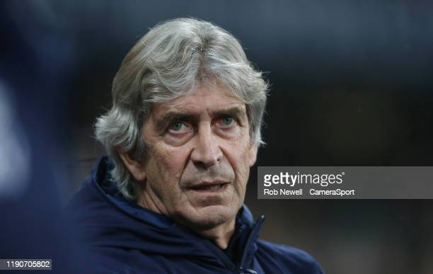 West Ham United manager Manuel Pellegrini during the Premier League match between West Ham United and Leicester City at London Stadium on December 28...