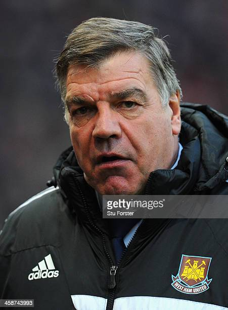 West Ham United Manager Sam Allardyce looks on prior to the Barclays Premier League match between Manchester United and West Ham United at Old...