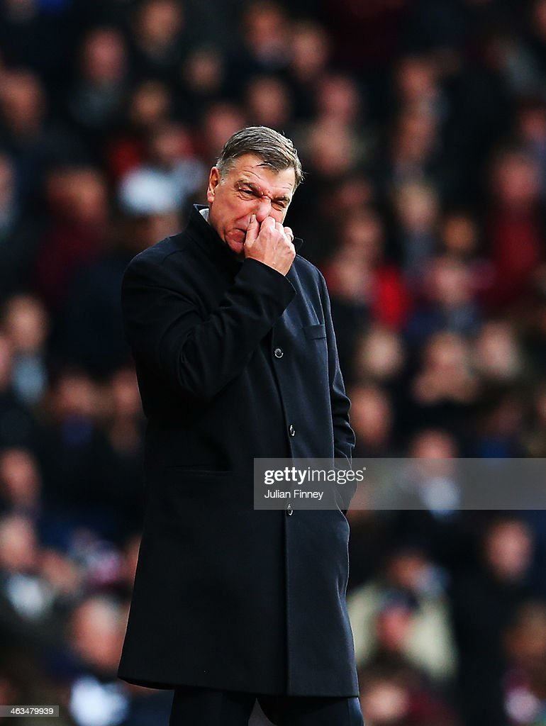 West Ham United manager Sam Allardyce reacts on the touchline during the Barclays Premier League match between West Ham United and Newcastle United at the Boleyn Ground on January 18, 2014 in London, England.