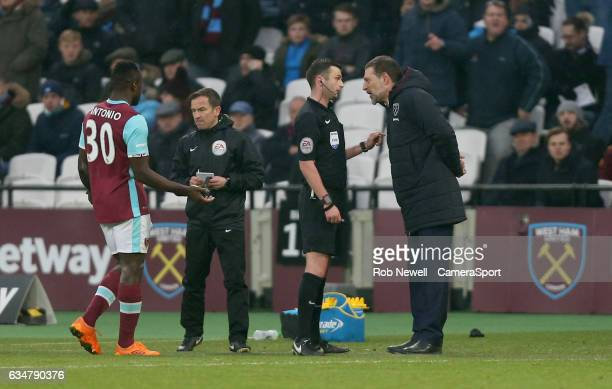 West Ham United manager Slaven Bilic has a heated exchange with referee Michael Oliver during the Premier League match between West Ham United and...