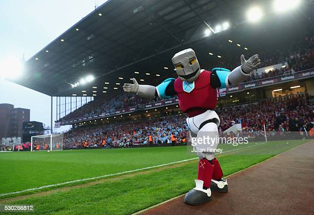 West Ham United mascot Hammerhead walks along the touchline prior to the Barclays Premier League match between West Ham United and Manchester United...