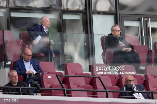 West Ham United owners David Gold and David O'Sullivan during the pre-season friendly Betway Cup match between West Ham United and AFC Bournemouth at...