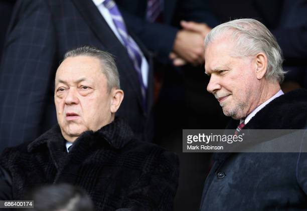West Ham United owners David Sullivan and David Gold look on prior to the Premier League match between Burnley and West Ham United at Turf Moor on...