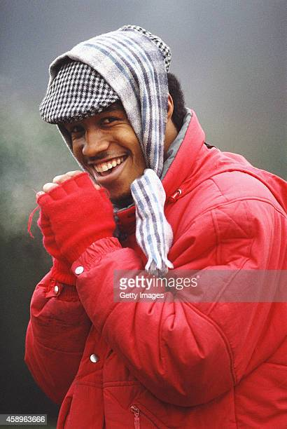 West Ham United player Paul Ince attempts to keep warm during a West Ham training session circa 1988