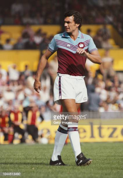 West Ham United player Trevor Brooking decked out in the club's Admiral Kit looks on during a Second Division match at Vicarage Road against Watford...