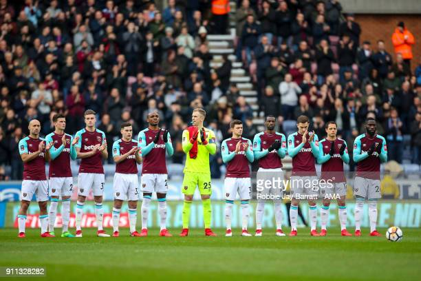 West Ham United players pay their respects to the late Jimmy Armfield prior to the The Emirates FA Cup Fourth Round match between Wigan Athletic and...