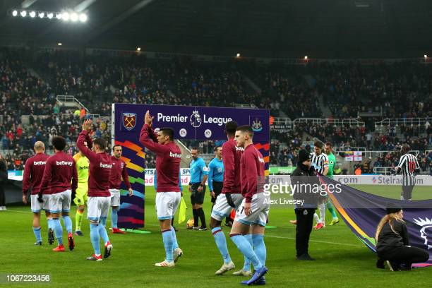 West Ham United players walk out prior to the Premier League match between Newcastle United and West Ham United at St James Park on December 1 2018...
