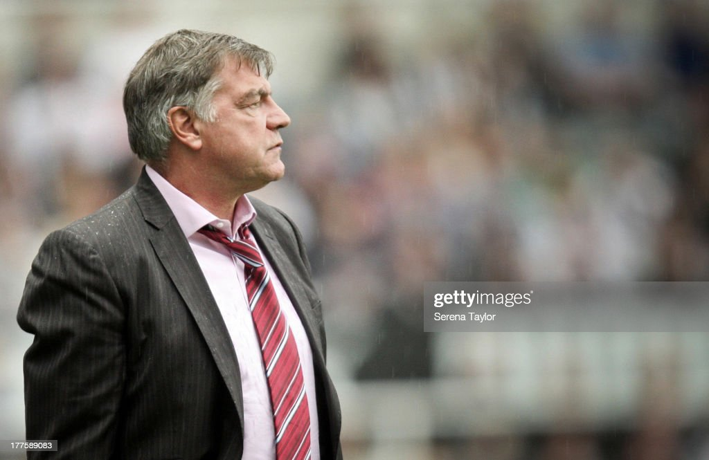 West Ham United Sam Allardyce looks on during the Barclays Premiership Match between Newcastle United and West Ham United at St. James Park on August 24, 2013, in Newcastle upon Tyne, England.