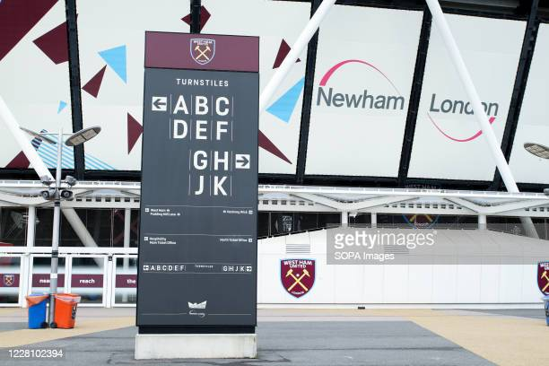 West Ham United signage at the Olympic stadium in the Queen Elizabeth Olympic Park in Stratford.
