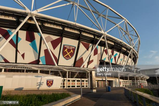 West Ham United soccer stadium in the Queen Elizabeth Olympic Park during the coronavirus pandemic on the 7th May 2020 in London, United Kingdom. The...