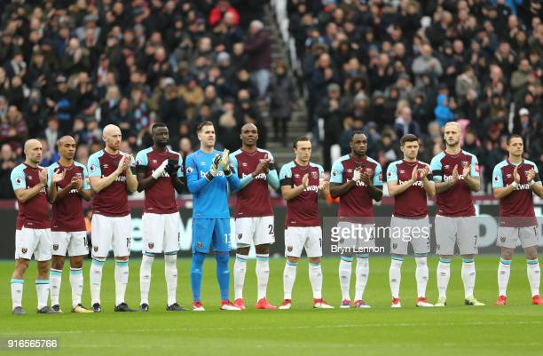 West Ham United team line up ahead of the Premier League match between West Ham United and Watford at London Stadium on February 10 2018 in London...