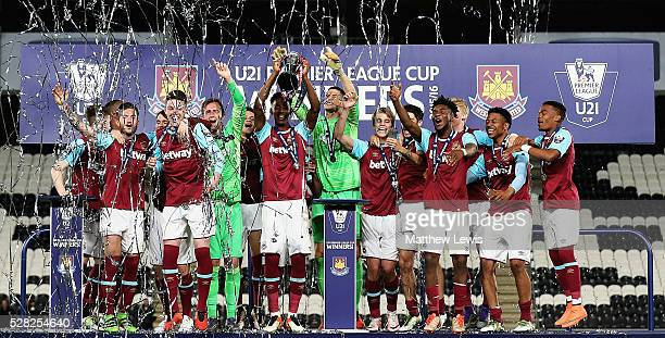West Ham United U21's celebrate winning the Premier League U21 Cup Final, after beating Hull City U21's on penalties during the Second Leg of the...
