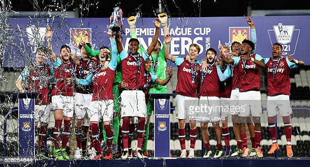 West Ham United U21's celebrate winning the Premier League U21 Cup Final after beating Hull City U21's on penalties during the Second Leg of the...