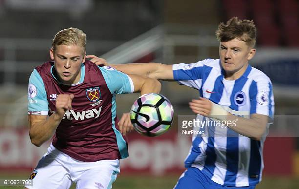 LR West Ham United U23s Alex Pike and James Tilley of Brighton and Hove Albion during Premier League 2 match between West Ham United Under 23s...