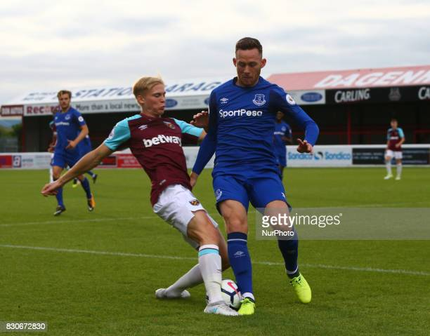 West Ham United U23s Alex Pike tackles Gethin Jones of Everton Under 23s during Premier League 2 Division 1 match between West Ham United Under 23s...