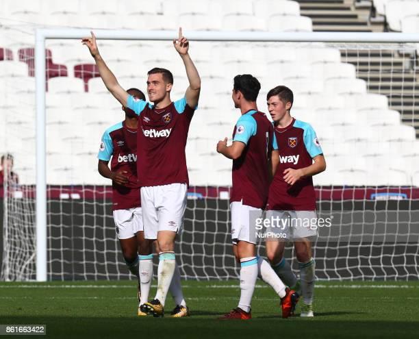 West Ham United U23s Antonio Martinez celebrate his Hattrick during Premier League 2 Division 1 match between West Ham United Under 23s and...