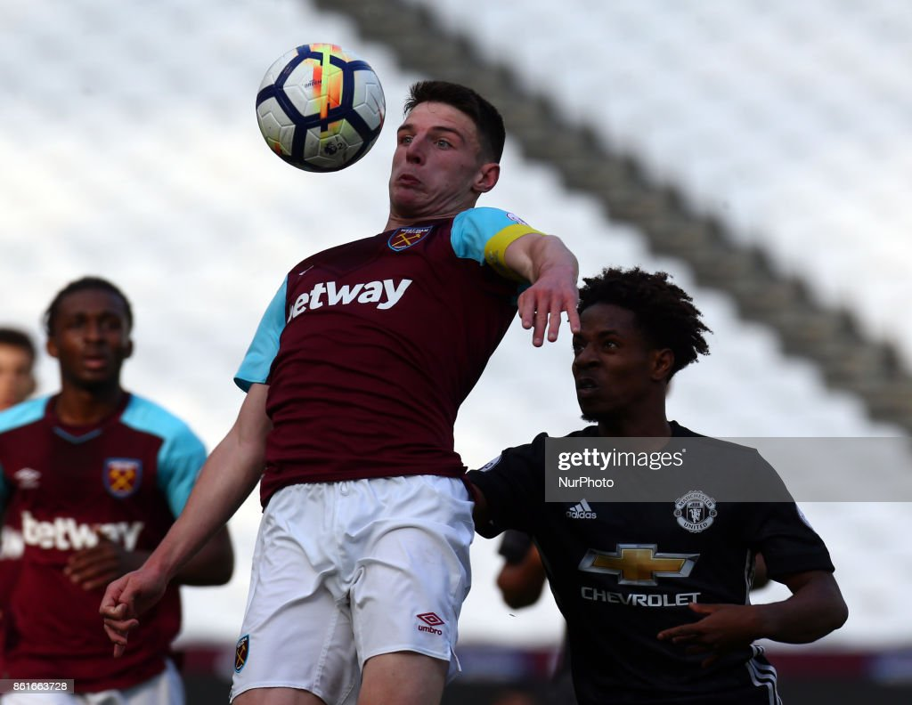 West Ham United U23s Declan Rice during Premier League 2 Division 1 match between West Ham United Under 23s and Manchester United Under 23s at London Stadium, London , England on 15 Oct 2017.