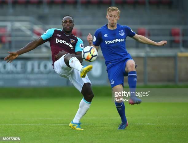West Ham United U23s Michael Antonio beats Harry Charsley of Everton Under 23s during Premier League 2 Division 1 match between West Ham United Under...