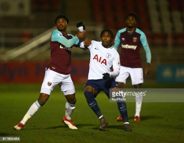 LR West Ham United U23s Tunji Akinola and Kazaiah Sterling of Tottenham Hotspur U23s during Premier League 2 Division 1 match between West Ham United...