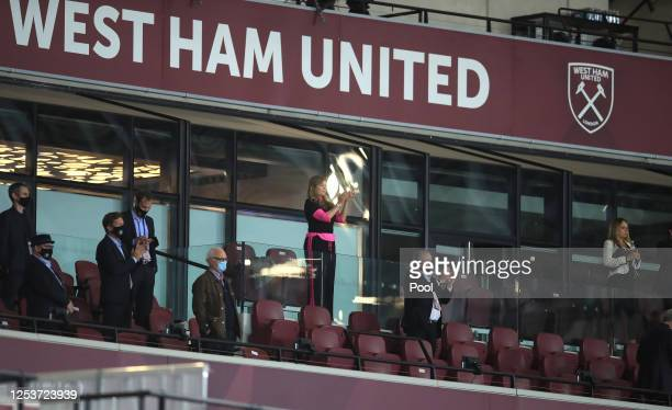 West Ham United Vice Chairman, Karren Brady applauds West Ham United players as they leave the pitch following the Premier League match between West...