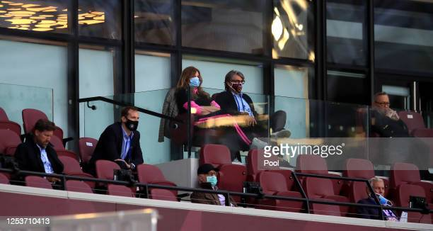 West Ham United Vice Chairman Karren Brady looks on during the Premier League match between West Ham United and Chelsea FC at London Stadium on July...