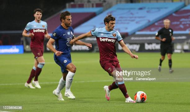 West Ham United's Aaron Cresswell and Chelsea's Cesar Azpilicueta during the Premier League match between West Ham United and Chelsea FC at London...