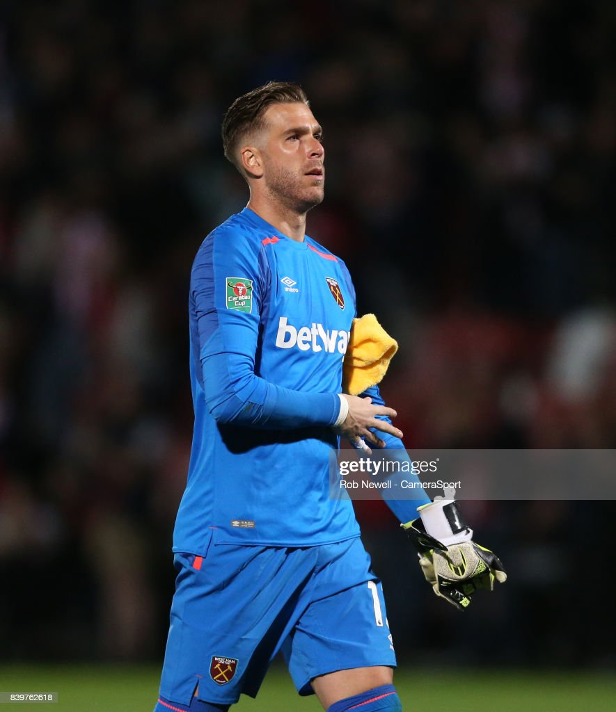West Ham United's Adrian during the Carabao Cup Second Round match between Cheltenham Town and West Ham United at Whaddon Road on August 23, 2017 in Cheltenham, England.