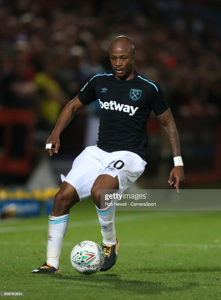 West Ham United's Andre Ayew during the Carabao Cup Second Round match between Cheltenham Town and West Ham United at Whaddon Road on August 23, 2017 in Cheltenham, England.