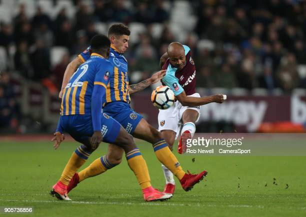 West Ham United's Andre Ayew with a shot in the 2nd half during The Emirates FA Cup Third Round Replay match between West Ham United and Shrewsbury...