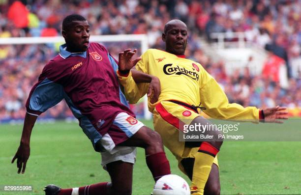 West Ham United's Andrew Impey and Liverpool's Michael Thomas fight for the ball during today's Premiership clash at Upton Park Photo by Louisa...