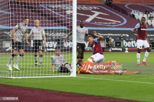 West Ham United's Andriy Yarmolenko finds the net in first half but the goal was disallowed during the Carabao Cup Second Round Northern Section...