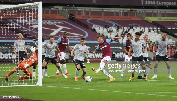 West Ham United's Andriy Yarmolenko with a first half chance during the Carabao Cup Second Round Northern Section match between West Ham United and...