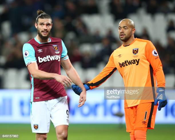 LR West Ham United's Andy Carroll and West Ham United's Darren Randolph during the prematch warmup during EPL Premier League match between West Ham...