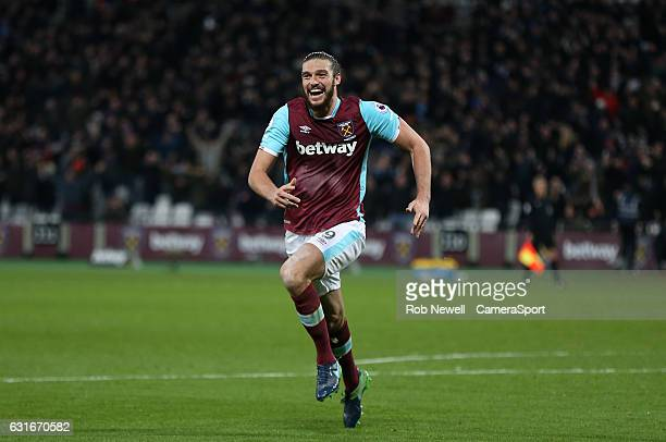 West Ham United's Andy Carroll celebrates scoring his sides second goal during the Premier League match between West Ham United and Crystal Palace at...
