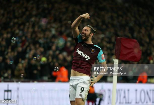 West Ham United's Andy Carroll celebrates scoring his side's second goal during the Premier League match between West Ham United and West Bromwich...