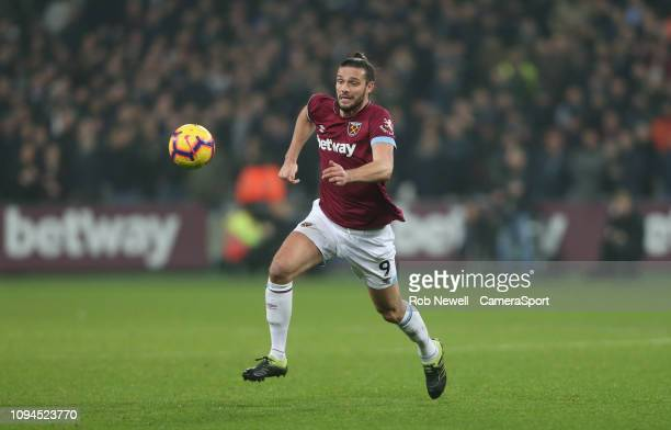 West Ham United's Andy Carroll during the Premier League match between West Ham United and Liverpool FC at London Stadium on February 4 2019 in...