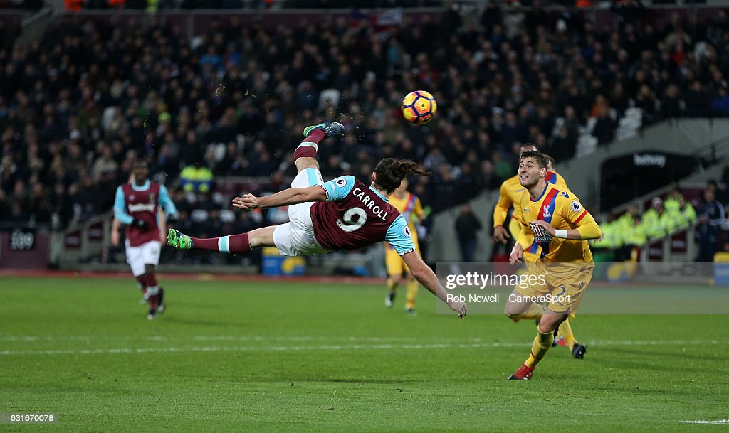 West Ham United's Andy Carroll scores his sides second goal during the Premier League match between West Ham United and Crystal Palace at London Stadium on January 14, 2017 in Stratford, England.