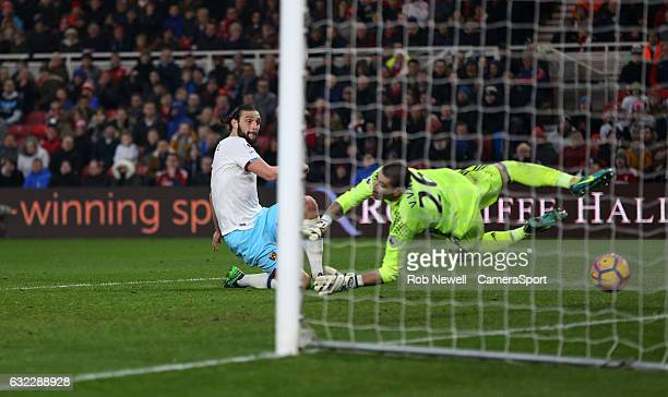 West Ham United's Andy Carroll scores his sides second goal during the Premier League match between Middlesbrough and West Ham United at Riverside...