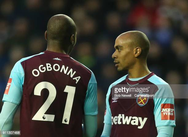 West Ham United's Angelo Ogbonna and Joao Mario during the The Emirates FA Cup Fourth Round match between Wigan Athletic and West Ham United at DW...