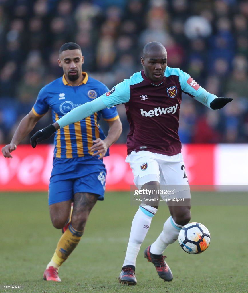 West Ham United's Angelo Ogbonna during the Emirates FA Cup Third Round match between Shrewsbury Town and West Ham United at New Meadow on January 7, 2018 in Shrewsbury, England.
