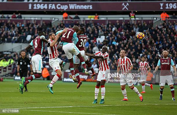 West Ham United's Angelo Ogbonna goes close with a first half header during the Premier League match between West Ham United and Stoke City at...