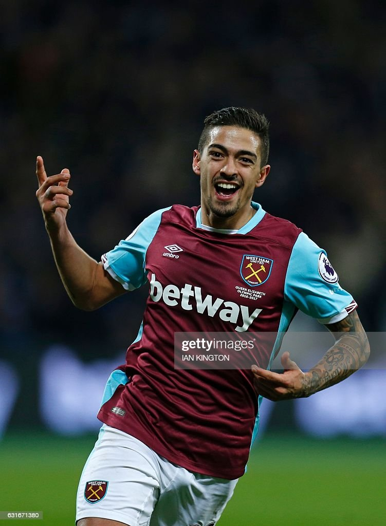 West Ham United's Argentinian midfielder Manuel Lanzini celebrates after scoring their third goal during the English Premier League football match between West Ham United and Crystal Palace at The London Stadium, in east London on January 14, 2017. / AFP / Ian KINGTON / RESTRICTED TO EDITORIAL USE. No use with unauthorized audio, video, data, fixture lists, club/league logos or 'live' services. Online in-match use limited to 75 images, no video emulation. No use in betting, games or single club/league/player publications. /